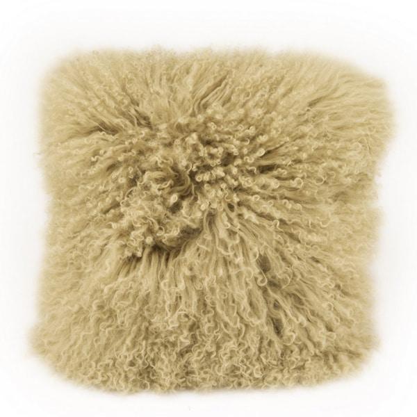 Aurelle Home Lamb Fur-light Green Throw Pillow