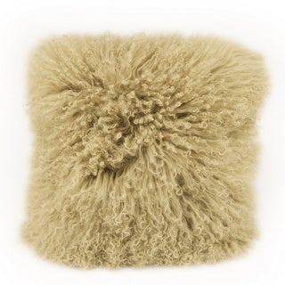 Lamb Fur-light Green Throw Pillow