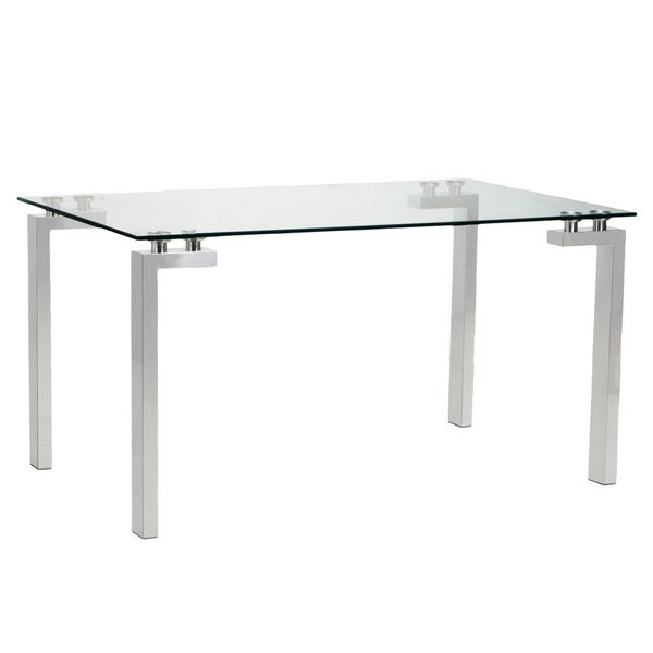 Aurelle Home Tolos Dining Table Square Glass