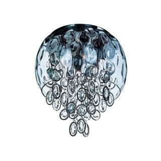 Glass Shade 6-light Nickel Ripple Flush Mount Light