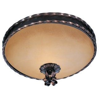 Vintage Amber Shade 2-light Bronze Aspen Flush Mount Light