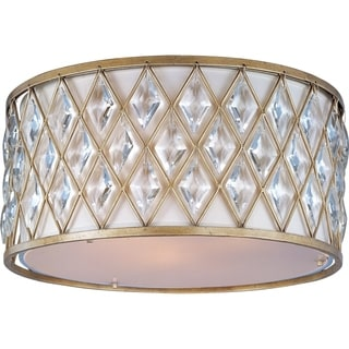 Off White Linen Shade 3-light Diamond Flush Mount Light