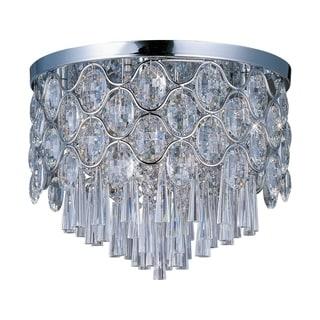 Beveled Crystal Shade 12-light Chrome Jewel Flush Mount Light