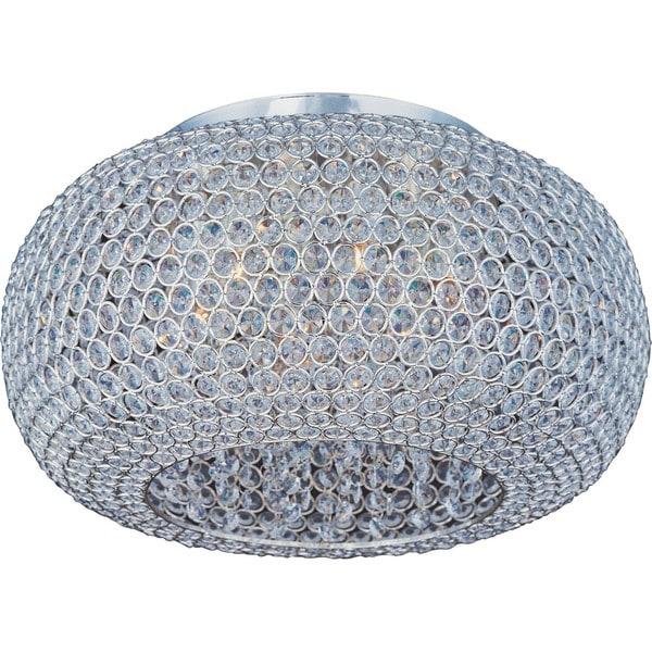 6-light Beveled Crystal Shade Silver Glimmer Flush Mount Light
