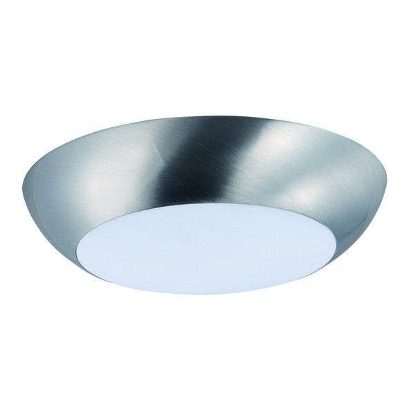 White Shade 1-light Nickel Diverse LED Flush Mount Light