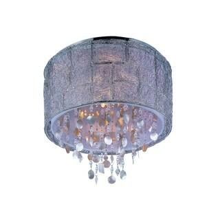 Twilight Fabric Shade 5-light Nickel Allure Flush Mount Light