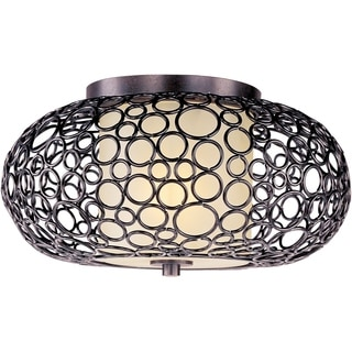 Dusty White Shade 1-light Bronze Meridian Flush Mount Light