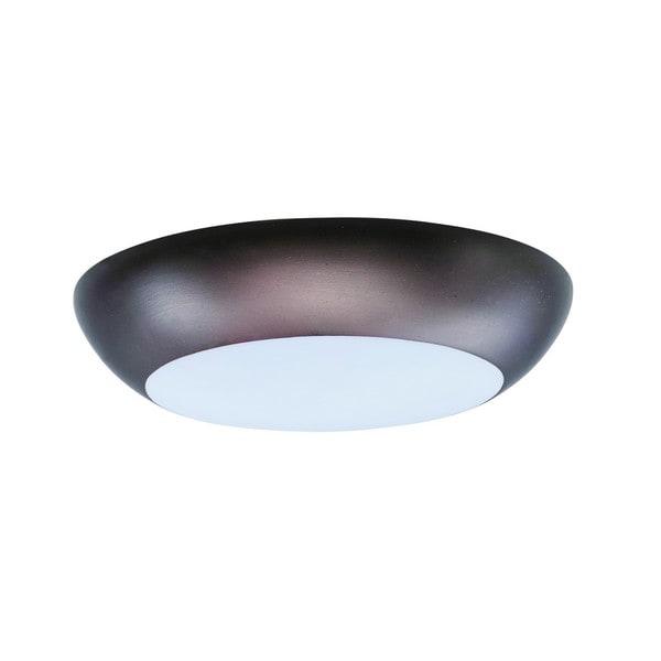 White Shade 1-light Bronze Diverse LED Flush Mount Light