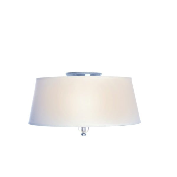 White Fabric Shade 3-light Nickel Rondo Flush Mount Light