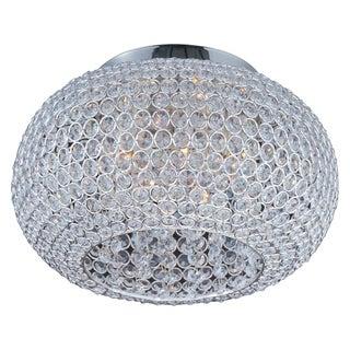 Beveled Crystal Shade 5-light Silver Glimmer Flush Mount Light