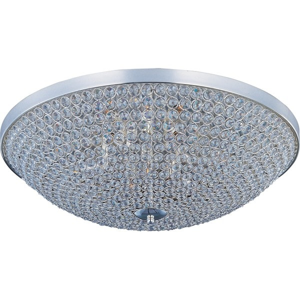 Beveled Crystal Shade 6-light Silver Glimmer Flush Mount Light