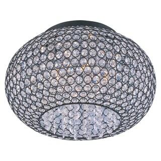 Beveled Crystal Glass Shade 5-light Bronze Glimmer Flush Mount Light