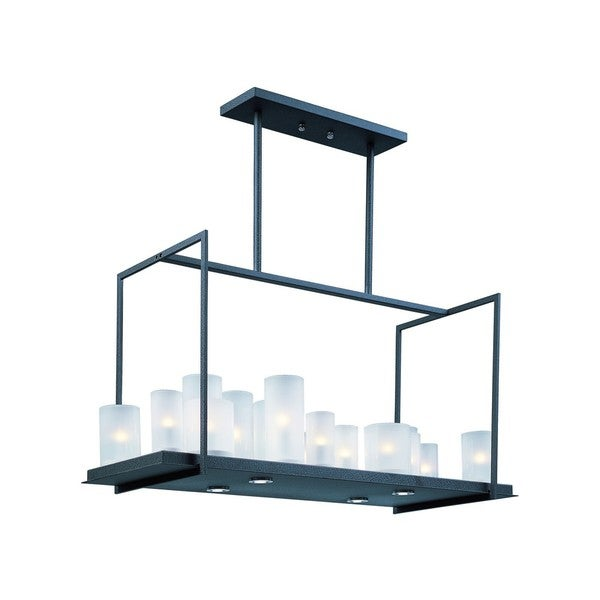 Frosted Shade 20-light Black Urban Nights Single Tier Chandelier