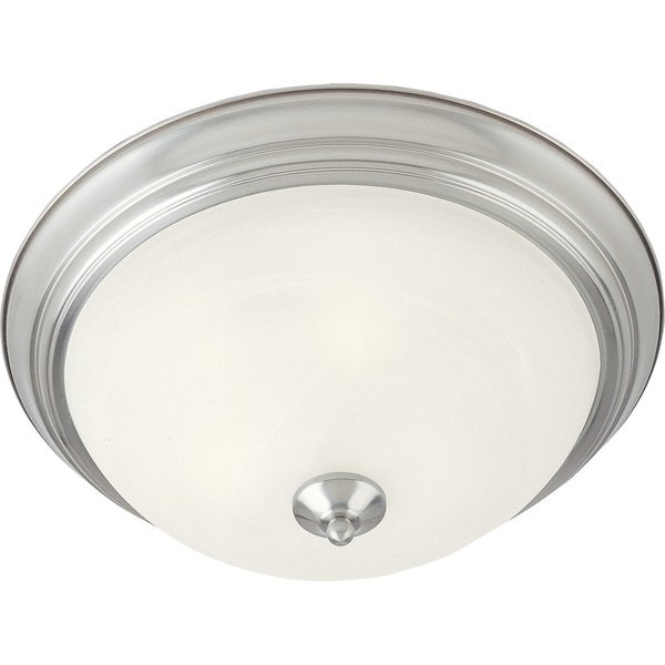 Marble Shade 2-light Nickel Essentials 584x Flush Mount Light
