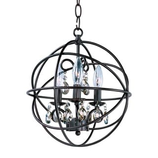 3-light Bronze Orbit Single Tier Chandelier