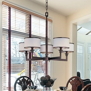 White Shade 5-light Bronze Nexus Single Tier Chandelier
