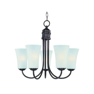 Maxim Frosted Shade 5-light Bronze Logan Single Tier Chandelier