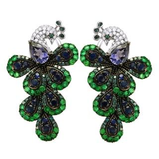 Beverly Hills Charm 14k White Gold 5/8ct. TDW White and Blue Diamond/ Gemstone Peacock Earrings (H-I, I2-I3)