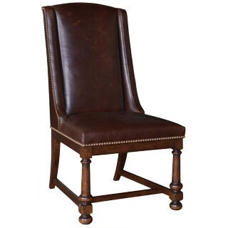 Barrel Oak Leather Side Chair
