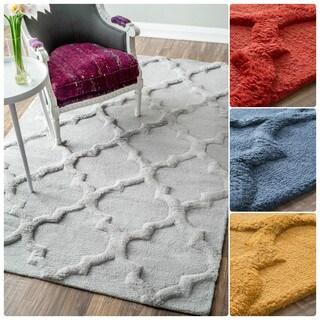 nuLOOM Handmade Solid Trellis Wool Rug (8'6 x 11'6)