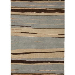 Hand-Knotted Abstract Pattern Blue/Brown (5.6x8.6) - J215 Area Rug