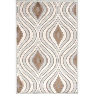 Machine-made FB27 Ivory/ Sage Green Area Rug (9' x 12')