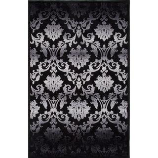 Machine Made Floral Pattern Black/Grey (9x12) - FB25 Area Rug