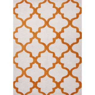 Hand-Tufted Geometric Pattern Ivory/Orange (8x11) - CT22 Area Rug