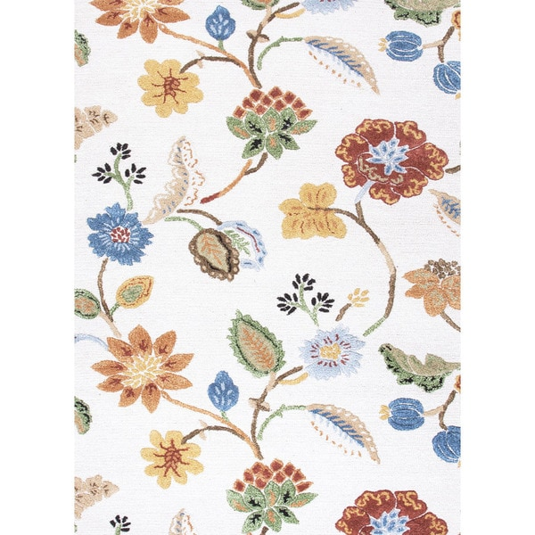 Hand-Tufted Floral Pattern Ivory/Multi (9.6x13.6) - BL33 Area Rug
