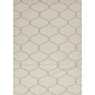 Flat-Weave Geometric Pattern Ivory/Brown (8x10) - MR64 Area Rug
