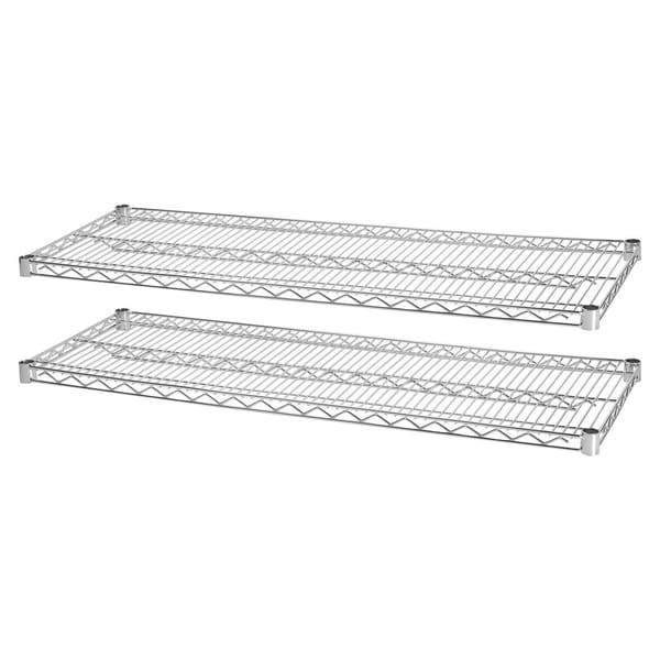 Lorell Chrome Industria Wire Shelving Starter Extra Shelves