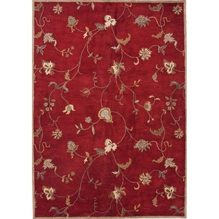 Hand-tufted PM41 Red/ Ivory Area Rug (2' x 3')