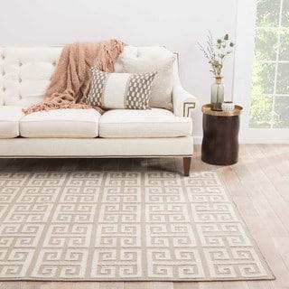 Flat-Weave Geometric Pattern Ivory/Gray (9x12) - UB09 Area Rug