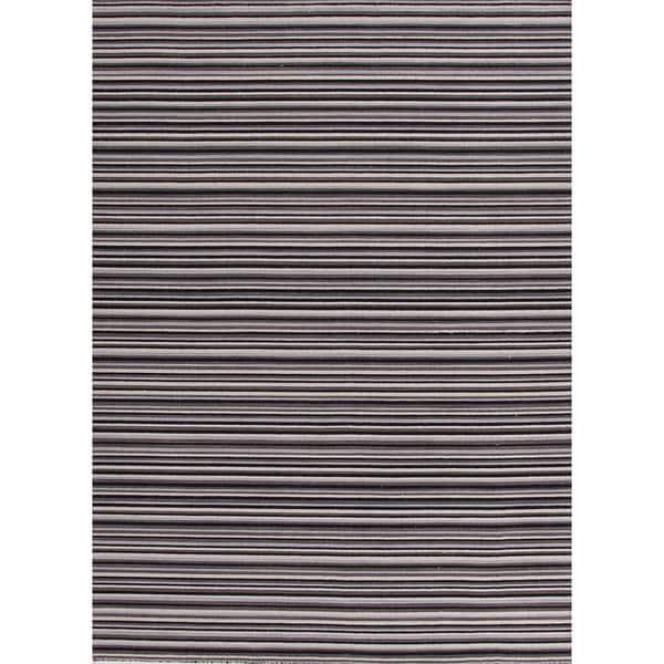 Flat-Weave Stripe Pattern Black/Ivory (4x6) - PV16 Area Rug