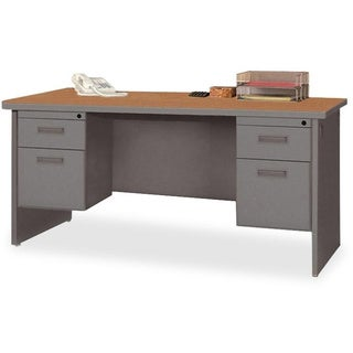 Lorell Steel Durable Double Pedestal Credenza