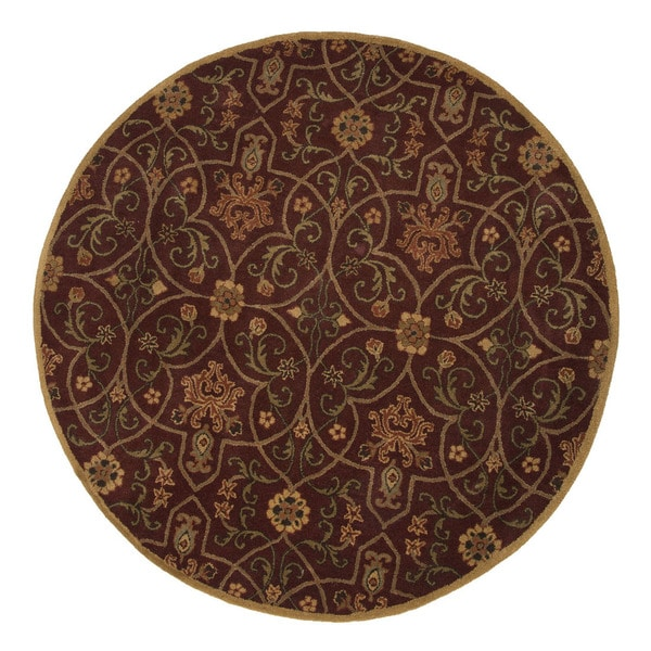 Hand-Tufted Oriental Pattern Red/Orange (6x6) - PM02_RD Area Rug