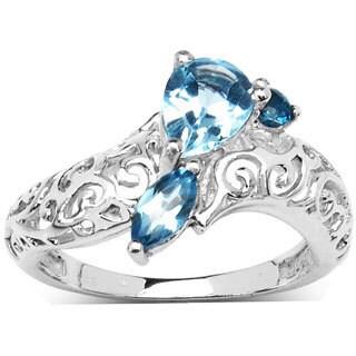 Malaika Sterling Silver Genuine Blue Topaz Carved Ring