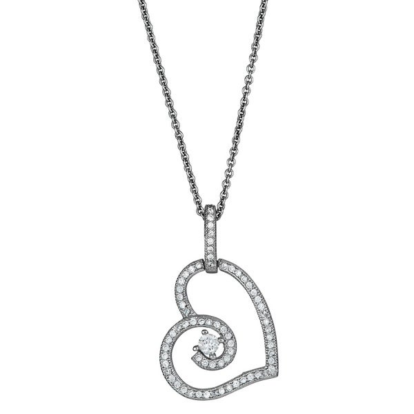 Sterling Silver Micropave CZ Fancy Cut-out Heart Pendant