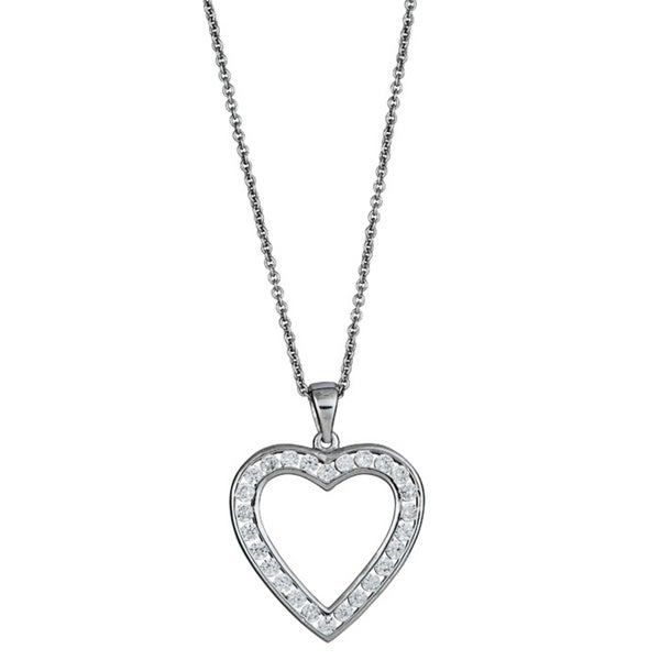 Sterlling Silver Micropave CZ Open Heart Pendant
