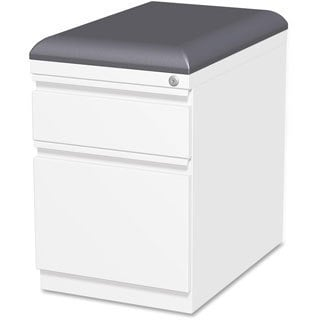 Lorell Mobile White Pedestal File with Seating