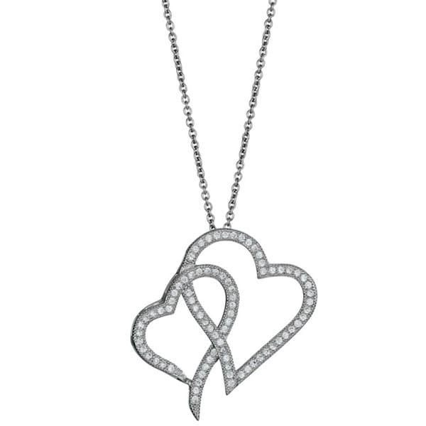 Sterling Silver Micropave CZ Interlocking Hearts Pendant