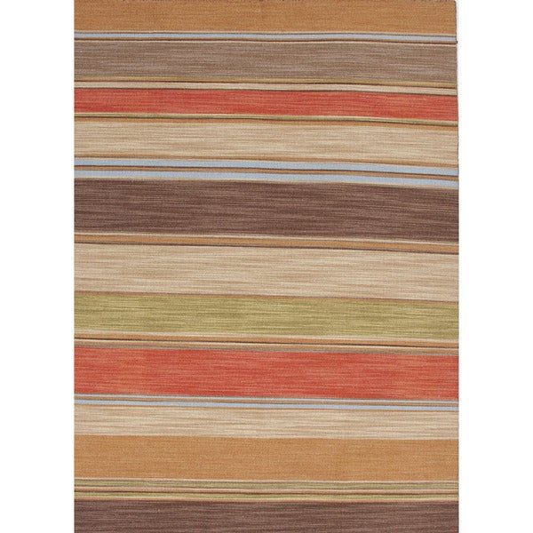 Flat-Weave Stripe Pattern Red/Brown (5x8) - PV22 Area Rug