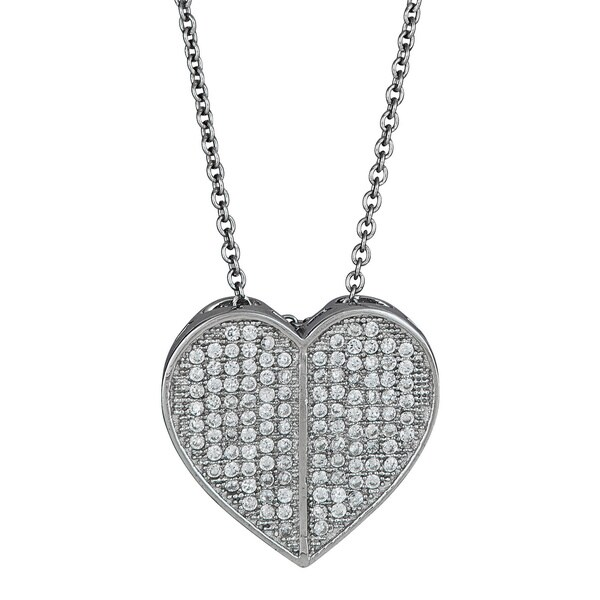 Sterling Silver Micropave CZ Embellished Heart Pendant