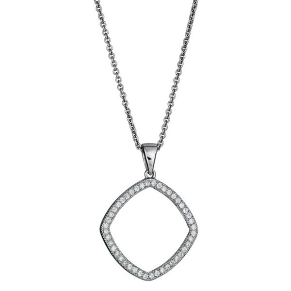 Sterling Silver Micropave CZ Open Diamond-shape Pendant