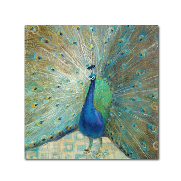 Danhui Nai 'Blue Peacock on Gold' Canvas Art
