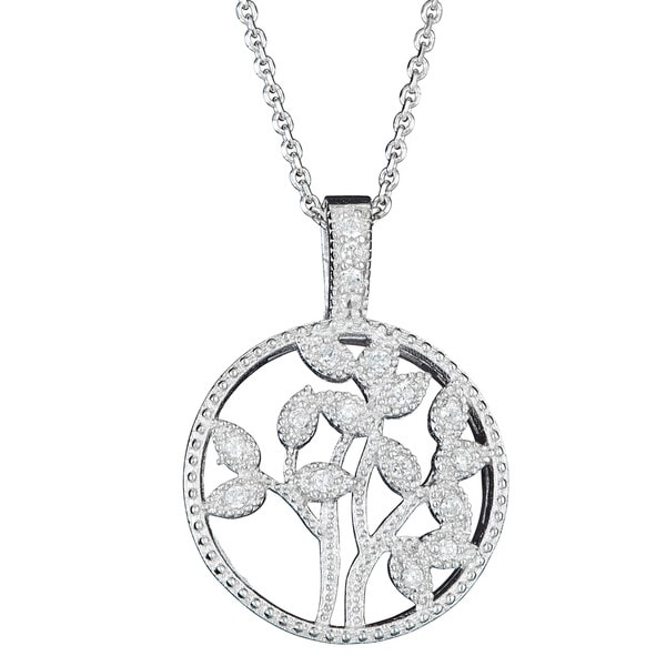 Sterling Silver Micropave CZ Cut-out Leaf Pendant