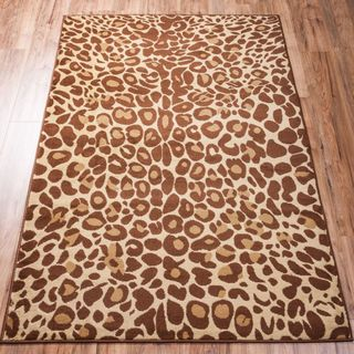 Well Woven Malibu Leopard Brown Beige Polypropylene Rug (8'2 x 9'10)
