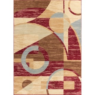 Well-woven Malibu Art Decor Modern Red, Brown, Blue, Beige, and Green Geometric Abstract Polypropylene Rug (8'2' x 9'10)