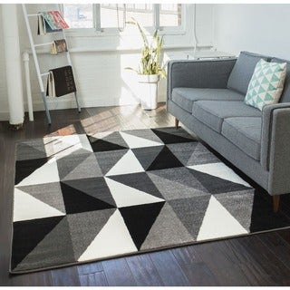Well Woven Mano Shades of Grey Art Deco Charcole White Polypropylene Rug (5'3 x 7'3)