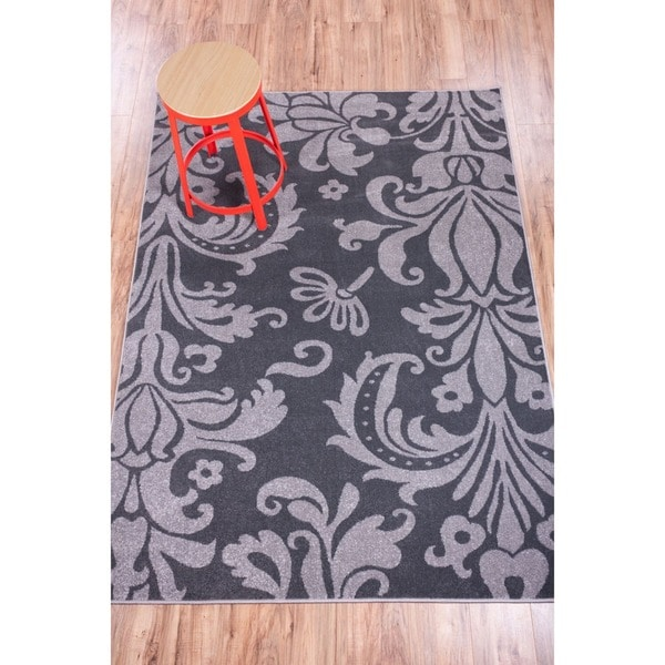 Well Woven Mano Shades of Grey Damask Grey / Charcoal Polypropylene Rug (7'10 x 9'10)